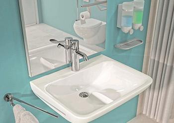 Contour 21+ clinical basin is designed to minimise splashing.