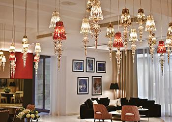 Windfall's Lula hanging lamps at the Jeddah villa.