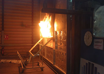 Fire performance testing of panels to ASTM standards.