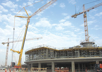 Johnson Arabia's fleet ... engaged on Abu Dhabi airport terminal building.