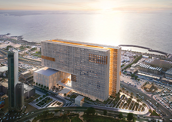 The complex, overlooking the Arabian Gulf, will have more than 141 courtrooms.