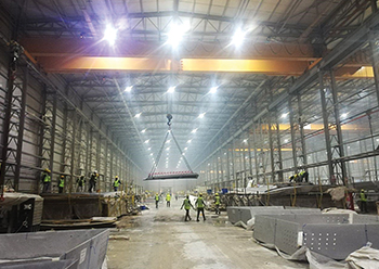 The facility for the production of the precast concrete shells at Kuwait airport site.