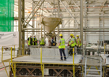 Casting the last shell for the domes of Kuwait airport's new terminal.