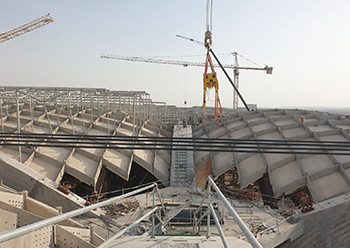 The shells will cover an area of 282,179 sq m to form the massive domes of the terminal.