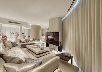 Burj Khalifa apartments ... the scope of work includes a complete redesign of the apartment with luxury furniture, kitchen, curtains and bathroom fixtures and fittings.