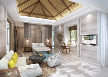 The resort's interiors take a natural approach to materiality.