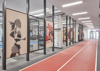The 900-sq-m multi-purpose gym has an indoor running track.