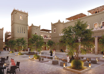 An artist's perspective of a hotel at Diriyah Gate.