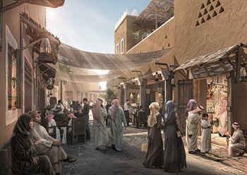 A bazaar at Diriyah Gate.