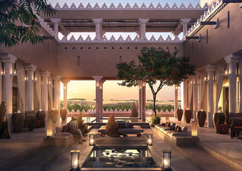 A courtyard at a Diriyah Gate hotel.