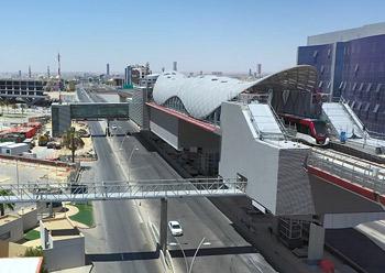 Line Two train run at Riyadh Exhibition Centre Station.