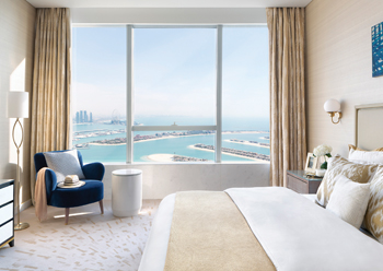 The apartments offer stunning views of Dubai's skyline.
