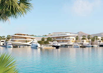 A perspective of the yacht club planned for Amaala.