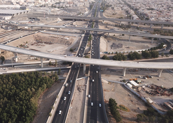 Bridges works above the Third Ring Road ... close to 88 per cent complete.