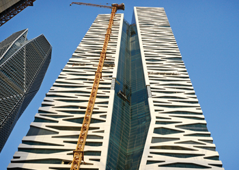 KAFD World Trade Centre in Riyadh ... BFG fabricated 3,180 lightweight composite cladding panels spanning up to 14 m each.