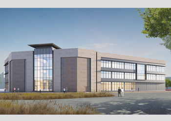 A rendering of an adminstration building at Spark.