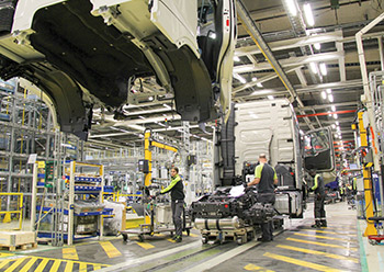Volvo's new trucks on the production line.