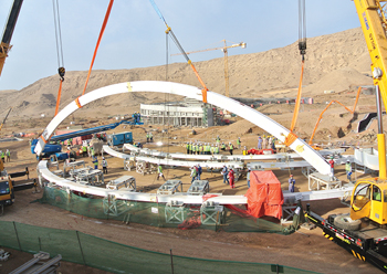 A total of 43 arches will be used in the construction of the northern biome.