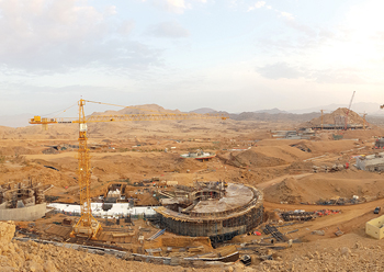 Work is in progress on the 420-hectare Oman Botanic Garden which will be the largest of its kind in the Gulf. INSET: A bird's eye perspective of the development.