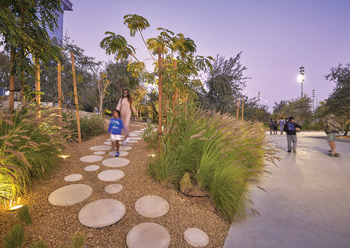 Al Fay Park features a 'forest track' as a nature attraction.