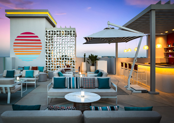 A social space at Vida Beach Resort.