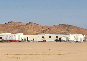 A camp of an equipment rental company in Neom.