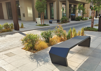 UHPC was used to produce the benches, landscape features, planters and recycling bins for Al Liwan mixed-use development.