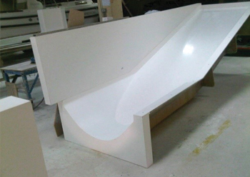 GFRP curved formwork was used for casting the concrete elements.