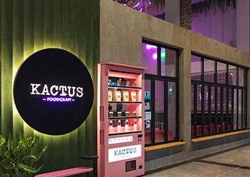 Kactus in Riyadh ... the café entrance is designed as a pink vending machine door.