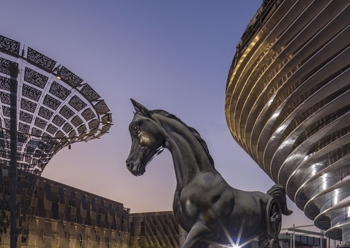 General view of the Mare and Foal Statue at Mobility Pavilion.