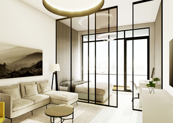 The concept design for a studio apartment at Loci.