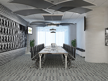 Topiq Sonic element ceiling rafts ... aesthetically and acoustically attractive.
