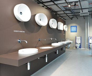 VariForm ... on display at Geberit's information centre in Dubai. INSET: Rimfree WC.