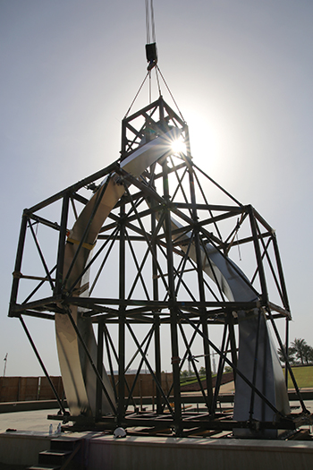 An 11-tonne framework jig was used to align the sculpture's main components.