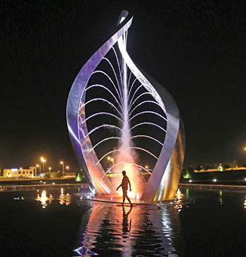 The Arches of Oman ... a 12-m-high water and steel sculpture.