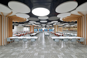 The rafts can be positioned at different angles and heights to create elegant, innovative ceiling designs.