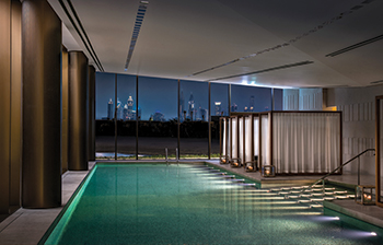The indoor pool ... at the Bulgari Spa.
