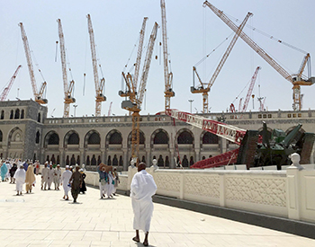 SBG cranes at the Grand Mosque in Makkah ... the company has many government projects.