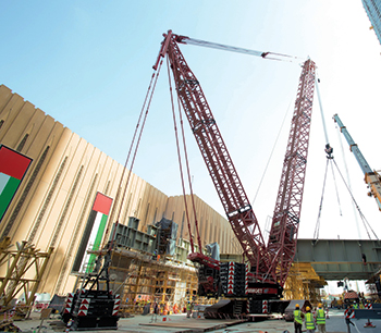 Mammoet cranes at Dubai Mall extension project.