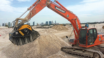 MB's BF 90.3 installed on a Doosan excavator ... at work on site at Al Khor Expressway.