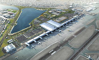 A rendition of the new Bahrain Airport ... under way.