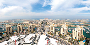 The view across Palm Jumeirah from Palm Tower.