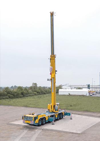 The Demag AC 300-6 all-terrain crane features an 80-m main boom.