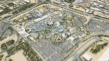 The masterplan covering an area of 4.38 sq km ... 25 million visitors expected at Expo 2020 between October 2020 and April 2021.