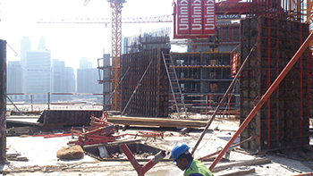 Prive by Damac ... Paschal formwork used for retaining wall, columns and shear walls.