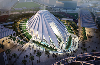The UAE Pavilion at the Expo 2020 ... design inspired by a falcon in flight.