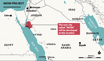 The location of the proposed Neom project.