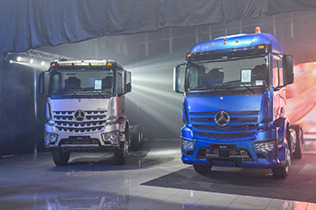 Officials from Al Haddad Motors and Mercedes-Benz Trucks at the launch.