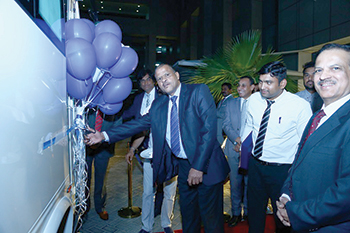 Ashok Leyland officials at the launch of the Oyster 2018 model in Saudi Arabia