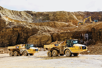 The Cat 730 and 735 ... on site and ready for work.